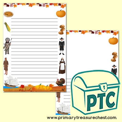 Thanksgiving Page Border/Writing Frame (narrow lines)