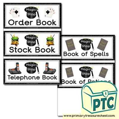 Role Play Magic Shop Book Covers / Labels