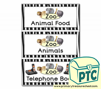 Zoo Role Play Book Covers / Labels
