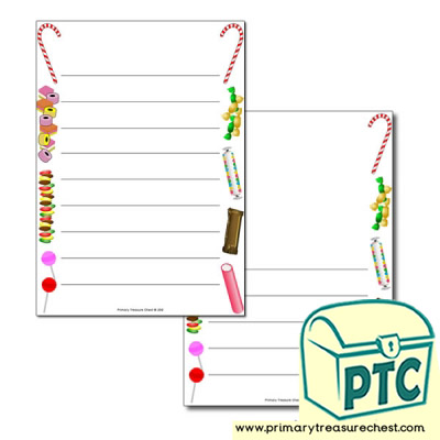 Sweets/Candy Themed Page Border/Writing Frame (wide lines)