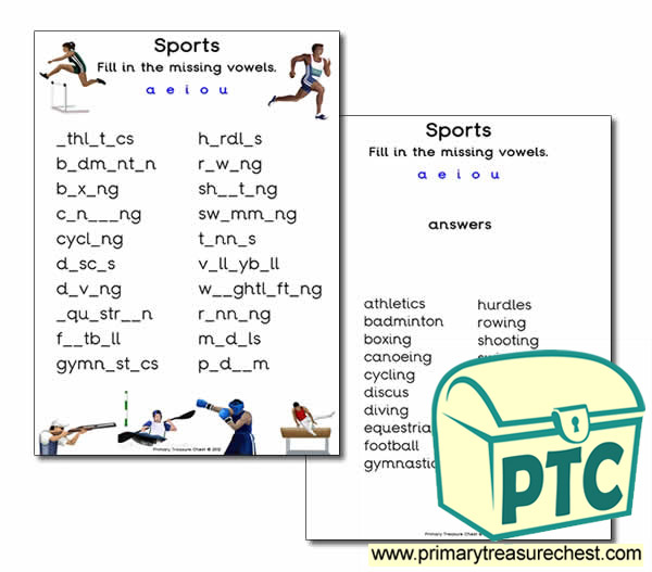Sports Themed Missing Vowels Worksheet