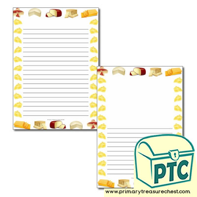 Cheese Themed Page Borders/Writing Frames (narrow lines)