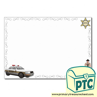 Sheriff Themed Landscape Page Border/Writing Frame (no lines)