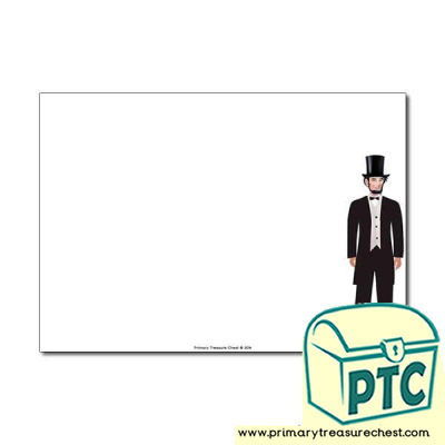 Abraham Lincoln landscape Page Border/Writing Frame (no lines)
