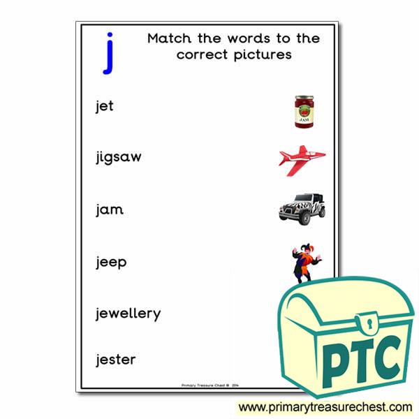 Match the 'j' Themed Words to the Pictures