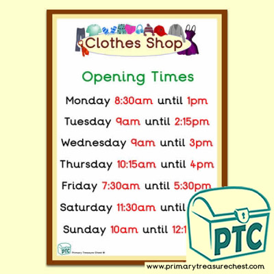 Clothes Shop Role Play Opening Times (Quarter & Half Past)