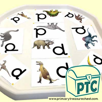 'd' for dinosaur Themed Phonics Tuff Tray Cards
