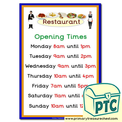 Restaurant Role Play Opening Times (O'clock)