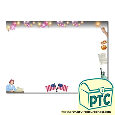 Independence Day Themed Landscape Writing Frame (no lines)