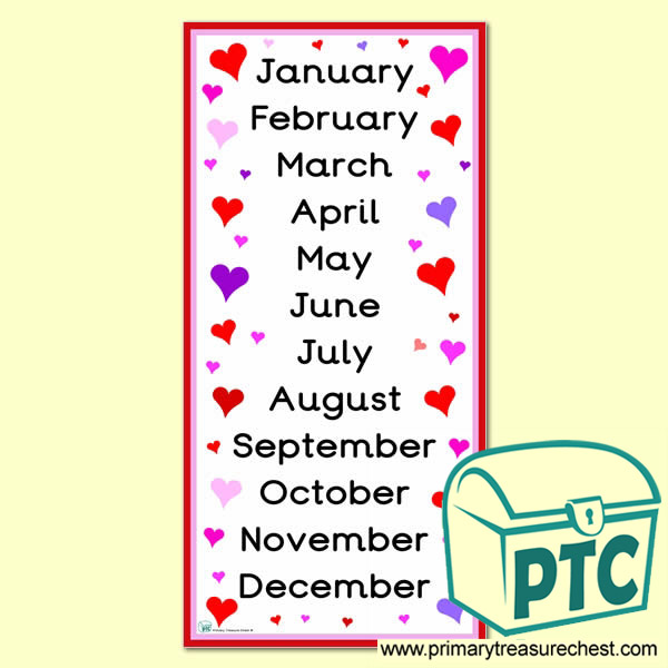 Months of The Year Hearts Themed Poster