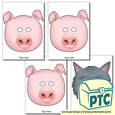 Three Little Pigs Role Play Masks.