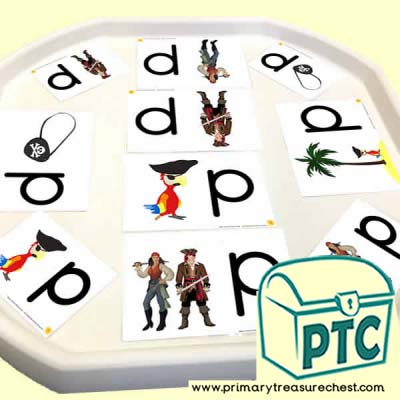 'p' for Pirate Themed Phonics Tuff Tray Cards