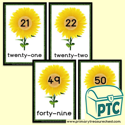 Sunflower Number Line 21 to 50