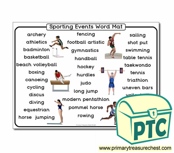 A4 Sporting events themed word mat.