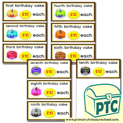 Role Play Cake Shop Birthday Cake Prices 21p to £99