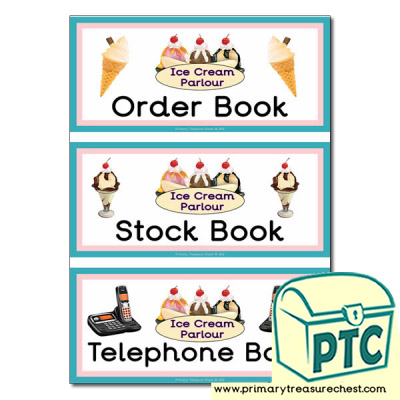 Ice Cream Parlour Role Play Book Covers / Labels
