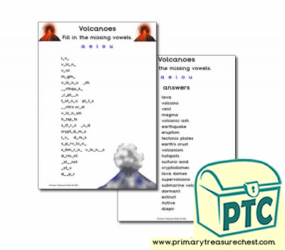 Volcano Themed Missing Vowels Worksheet