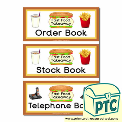 Sandwich Shop Role Play Book Covers / labels
