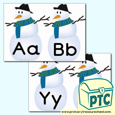 Snowman Themed Lowercase Alphabet Cards