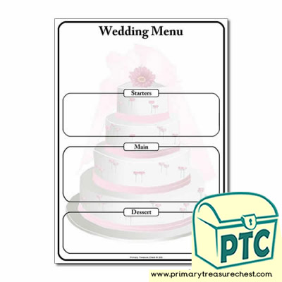 Wedding Menu Worksheet