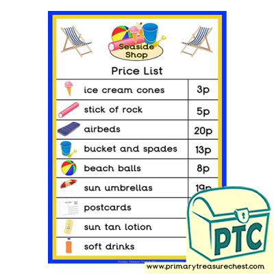 Seaside Shop Price List Poster (1-20p)