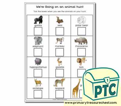 Were Going on a Animal Hunt worksheet
