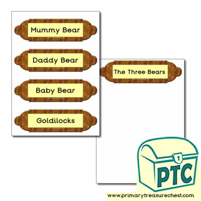 Picture frame labels- Goldilocks and The Three Bears