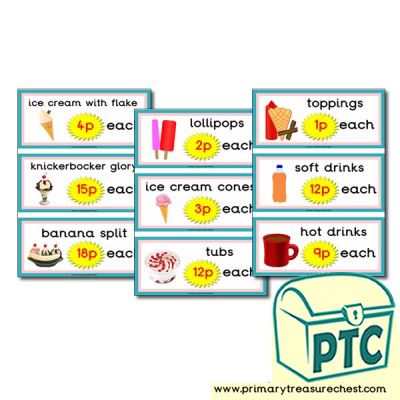 Role Play Ice Cream Parlour Prices 1-20p