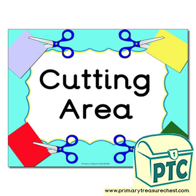 Cutting area Classroom sign