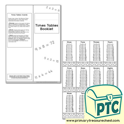 Times Tables Booklet Tables 1-12 1x3, 2x3, 3x3, 4x3 format for all tables