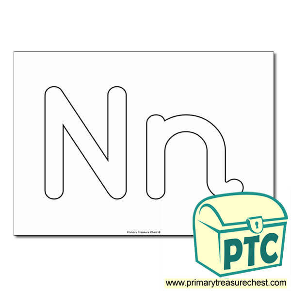 'Nn' Upper and Lowercase Bubble Letters A4 Poster - No Images.