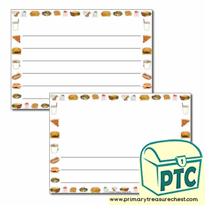 Fast Food Takeaway Themed Landscape Page Border/Writing Frame (wide lines)