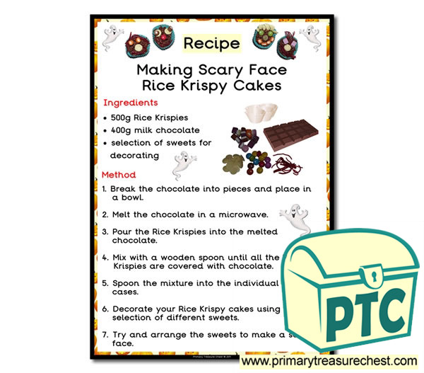 Scary Face Rice Krispy Cakes Recipe Poster