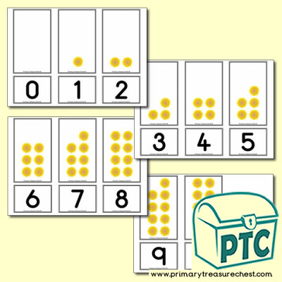 Sunflower Number Shapes Matching Cards 0 to 10