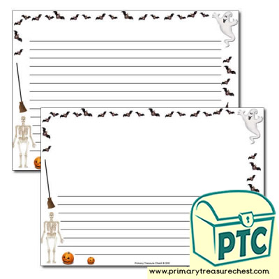 Halloween Landscape Page Border /Writing Frame (narrow lines)