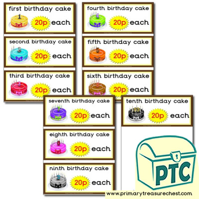 Role Play Cake Shop Birthday Cake Prices 1-20p