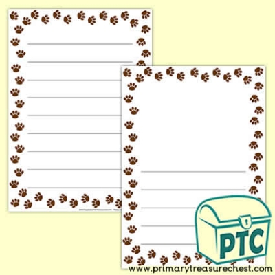 Animal Paw Print Page Border /Writing Frame (wide lines)