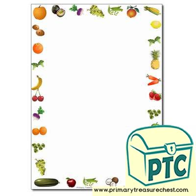 Fruit and Vegetables themed Page Border /Writing Frame (no lines)