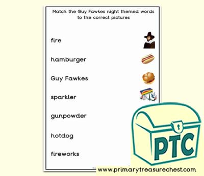 Guy Fawkes Themed Matching Words to the Pictures