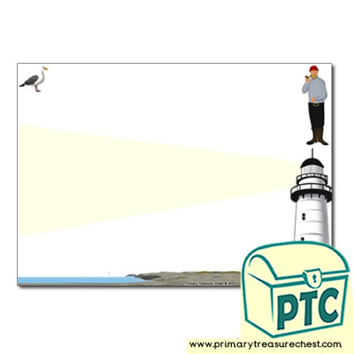 Lighthouse Themed Landscape Page Border/Writing Frame (no lines)