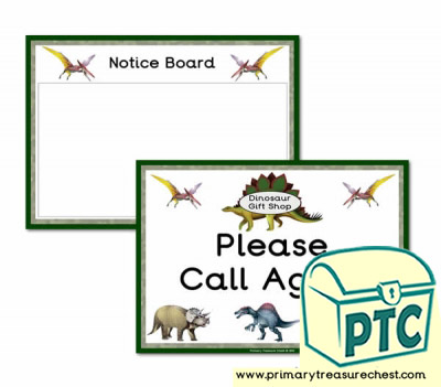 Dinosaur Gift Shop Role Play Notice board/Cal Again Signs