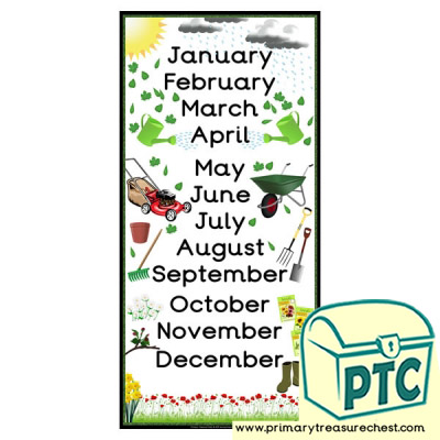 Months of The Year Gardening and Growing Themed posters