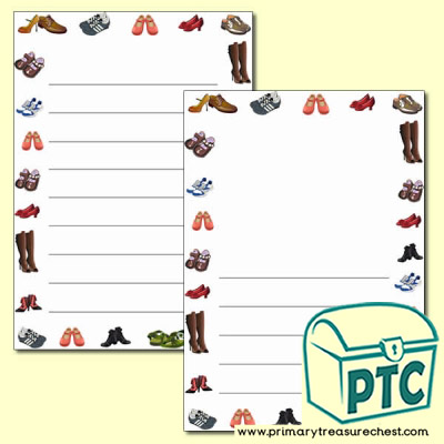 Shoe Themed Page Border/Writing Frame (wide lines)