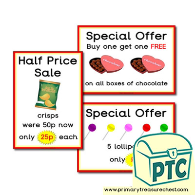Sweet Shop Role Play Special Offers Posters (21p - £99)