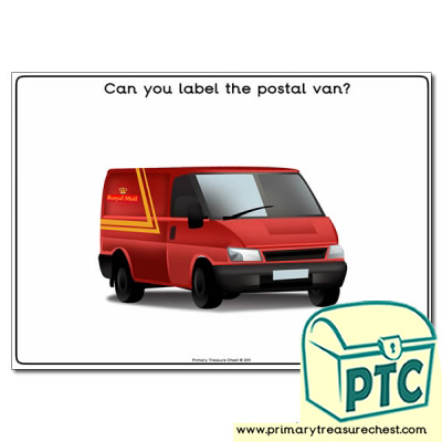 Postman Worksheet 'Can you label the postal van'