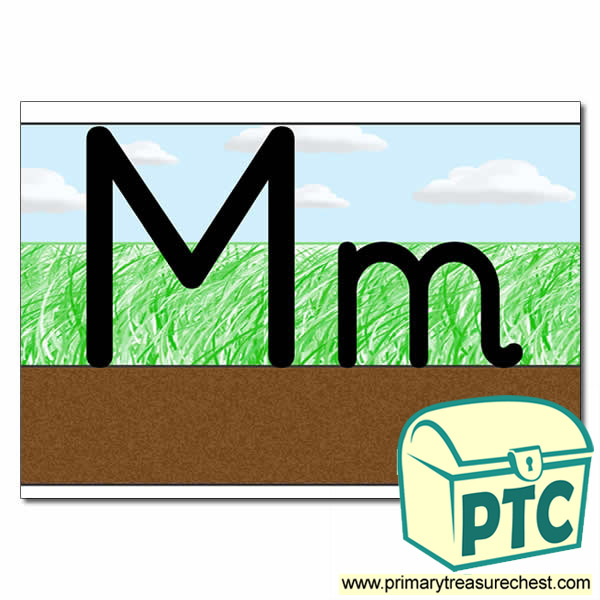 Letter 'Mm' Ground-Grass-Sky Letter Formation Sheet
