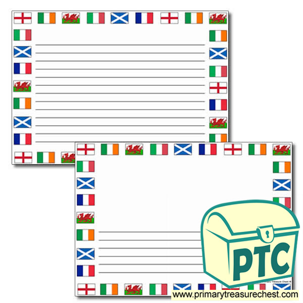 Six Nations Flags Landscape Page Border with Narrow Lines