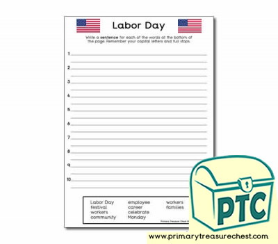Happy Labor Day Sentence Worksheet