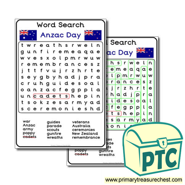 Anzac Day Word Search Worksheet