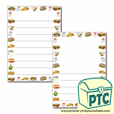 Sandwich Shop Themed Page Border/Writing Frame (wide lines)